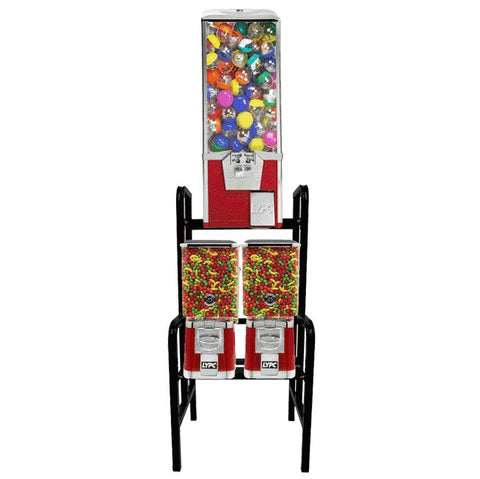 Combination 3 head toy capsule and bulk candy and gum vending machine