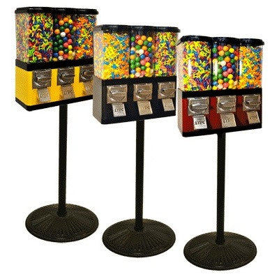 Triple Pod Candy Gumball Machine With Retro Stand