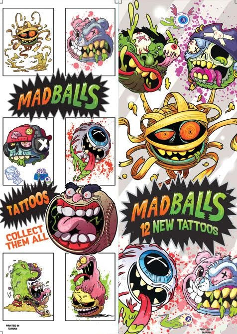 Madballs vending tattoos display front and back