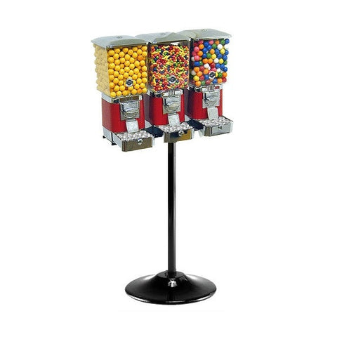 Titan Square 3-head gumball and candy machine with cash boxes