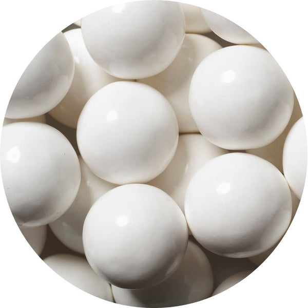 1-inch white colored gumballs in 2 pound bag