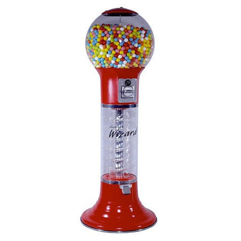 5 foot tall Wizard Spiral gumball machine in color red