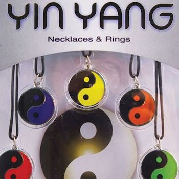 Yin Yang Necklaces and Rings blister display card front