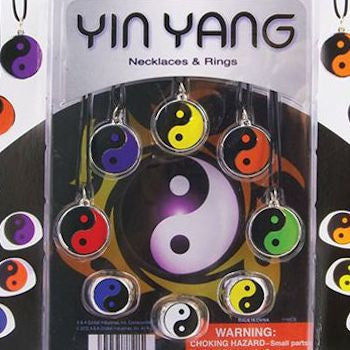 Yin Yang Necklaces and Rings blister display card back