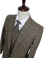 Plaid suit, printed tie, white shirt on a mannequin