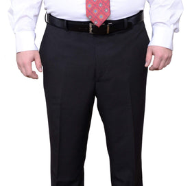 Adolfo Portly Fit Black Pinstriped Flat Front Washable Dress Pants