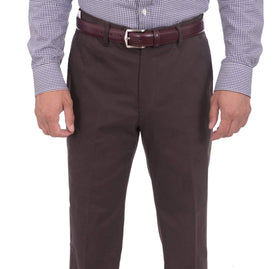 Aldo Valentini Slim Fit Solid Brown Stretch Cotton Casual Pants Made In Italy