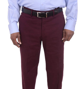 Aldo Valentini Slim Fit Solid Burgundy Stretch Cotton Casual Pants Made In Italy