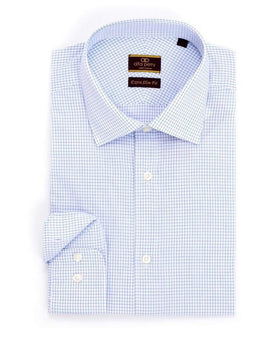 Alfa Perry Extra Slim Fit Blue Graph Check Spread Collar Cotton Dress Shirt