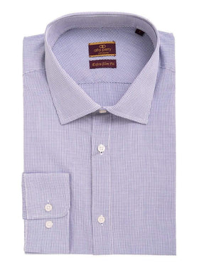 Alfa Perry Men's Extra-Slim Fit Blue Mini Check Spread Collar Cotton Dress Shirt