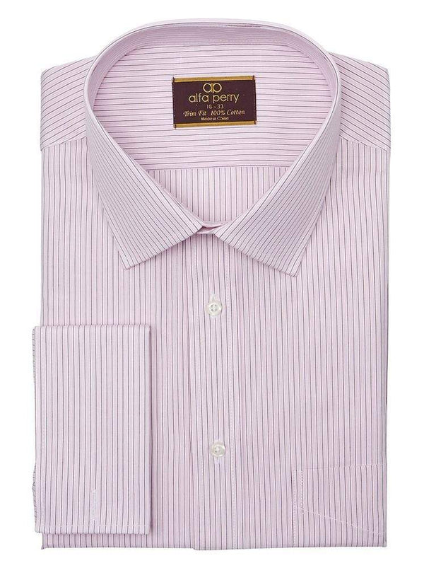 Alpha Perry SHIRTS 16 1/2 32/33 Alfa Perry Trim Fit Pink & Brown Striped French Cuff Cotton Dress Shirt