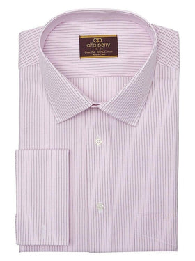 Alfa Perry Trim Fit Pink & Brown Striped French Cuff Cotton Dress Shirt