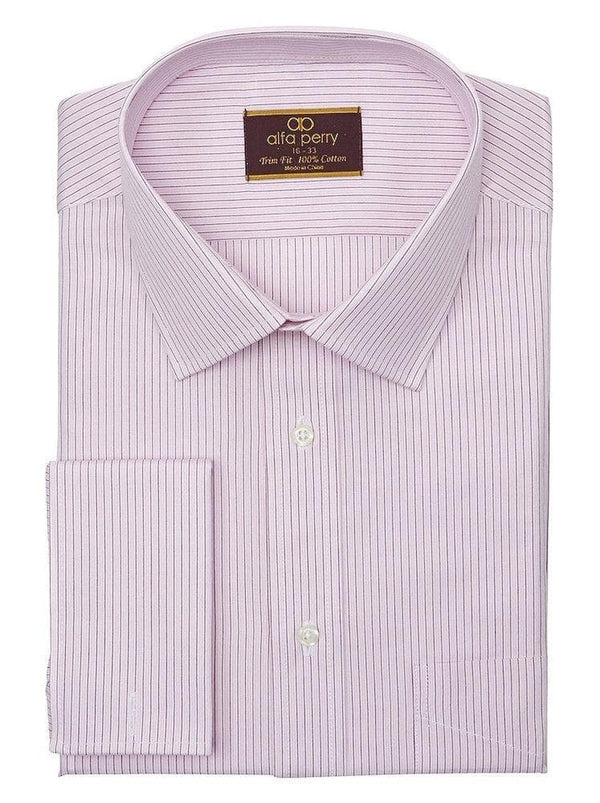 Alpha Perry SHIRTS Alfa Perry Trim Fit Pink & Brown Striped French Cuff Cotton Dress Shirt