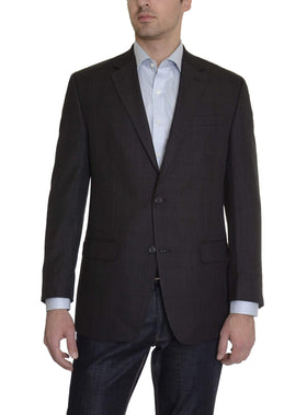 Andrew Fezza Mens Slim Fit Charcoal Gray Plaid Two button Blazer Sportcoat