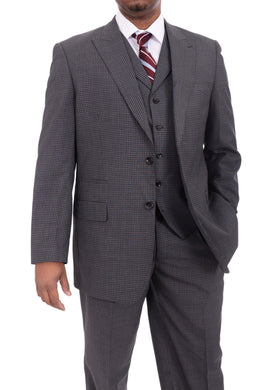 Apollo King Classic Fit Charcoal Gray Check Three Piece Wool Suit
