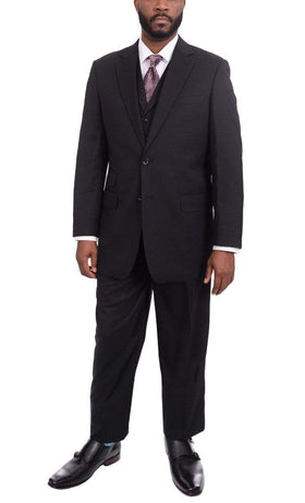 Apollo King Classic Fit Solid Black Two Button Wool Three Piece Suit