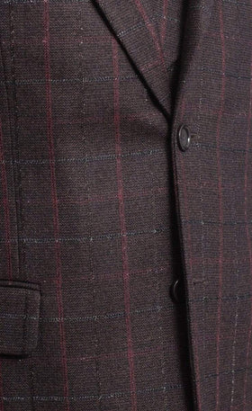 Apollo King Classic Fit Brown Plaid 2 Button 3 Piece Wool Suit With Peak Lapels