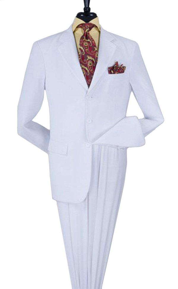 Apollo King TWO PIECE SUITS Apollo King Royal Diamond Collection Solid Off White Three Button Suit