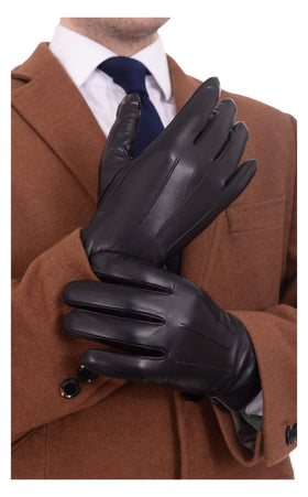 Ariston Mens Genuine Nappa Lambskin Black Leather & Cashmere Driving Gloves
