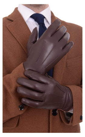 Ariston Mens Genuine Nappa Lambskin Brown Leather & Cashmere Driving Gloves