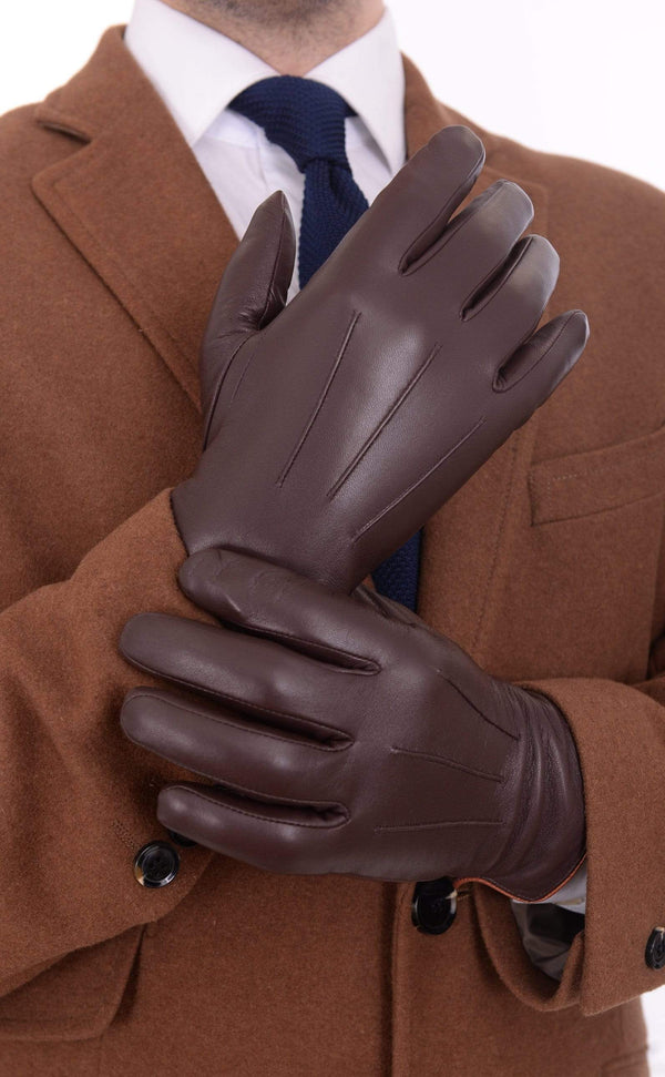 Ariston All Fits Ariston Mens Genuine Nappa Lambskin Brown Leather & Cashmere Driving Gloves