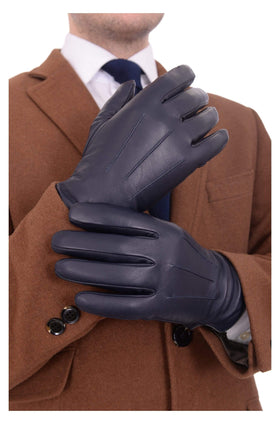 Ariston Mens Genuine Nappa Lambskin Navy Blue Leather & Cashmere Driving Gloves