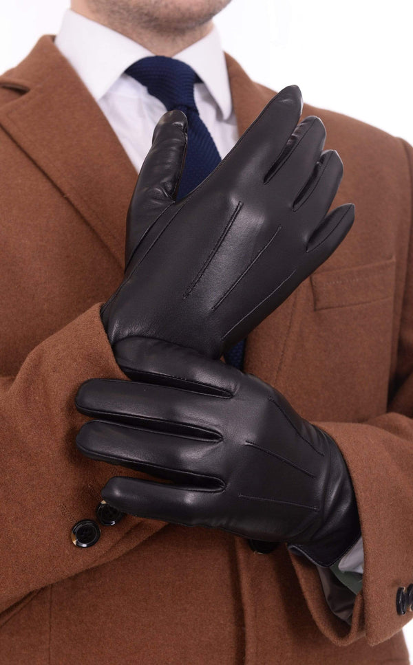 Ariston All Fits S / Brown Ariston Mens Genuine Nappa Lambskin Brown Leather & Cashmere Driving Gloves