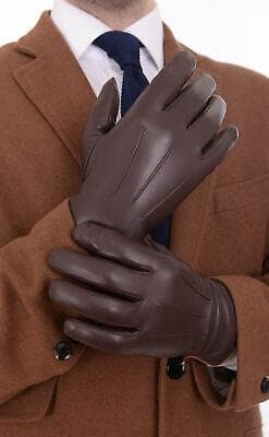 Ariston Mens Genuine Nappa Lambskin Leather Driving Gloves With Fleece Lining