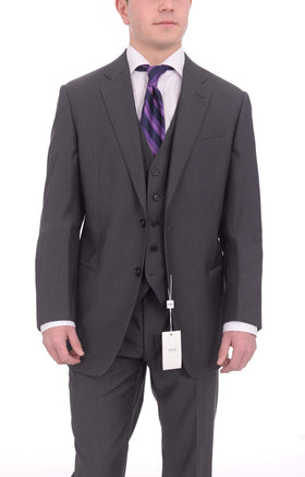 Armani Collezioni Giorgio Slim Fit 46r 58 Gray Striped Three Piece Wool Suit