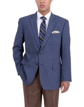 Arthur Black Classic Fit Navy Blue Check Two Button Wool Blazer Sportcoat