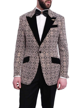 Barabas Slim Fit Black & Rose Gold Geometric One Button Tuxedo Blazer
