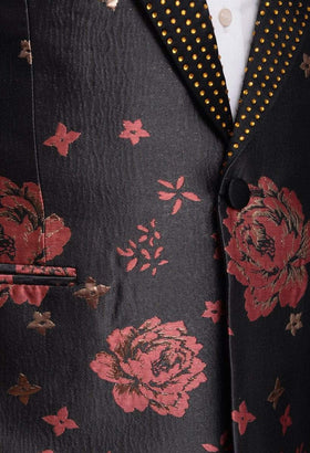 Barabas Slim Fit Charcoal Gray With Pink & Gold Floral One Button Tuxedo Blazer