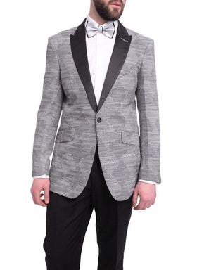 Barabas Slim Fit Blue & Black Textured Diamonds With Silver Thread Tuxedo Blazer