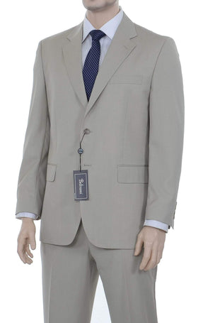 Beltrami Classic Fit Solid Beige Tan Wool Suit