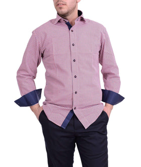 Bespoke Modern Fit Blue & Red Check Spread Collar Cotton Casual Dress Shirt
