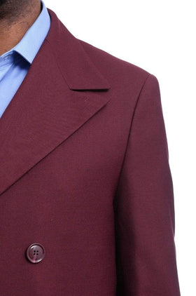 Men's Black Diamond Burgundy Red Wool Gabardine Double Breasted Trench Coat