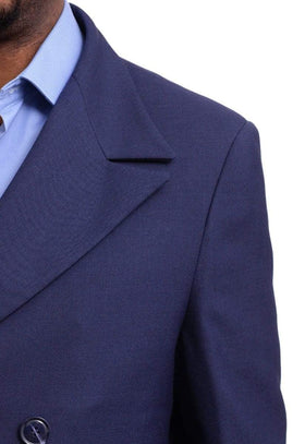 Men's Black Diamond Navy Blue Wool Gabardine Double Breasted Trench Coat