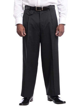 Mens Black Diamond Solid Black Wool Dress Pants
