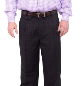 Black Diamond Classic Fit Navy Blue & Brown Plaid Pleated Wool Dress Pants