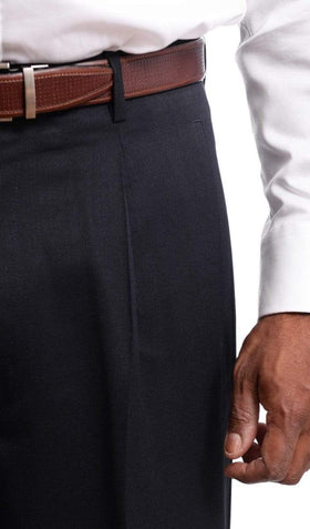 Mens Black Diamond Classic Fit Solid Navy Blue Pleated Wool Dress Pants
