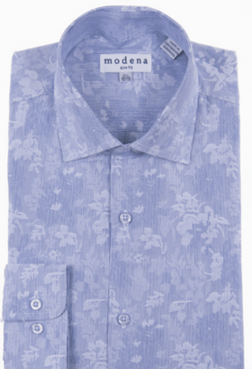 Mens Slim Fit Blue & White Floral Spread Collar Cotton Blend Dress Shirt