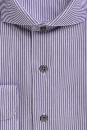 Mens Cotton Blue Striped Slim Fit Cutaway Collar Easy Care Dress Shirt