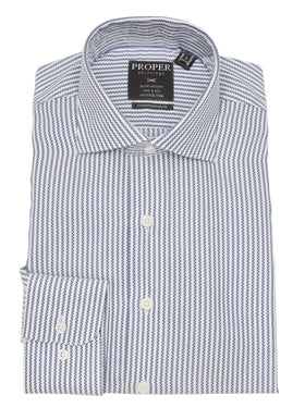 Mens Cotton White & Blue Striped Slim Fit Cutaway Collar Dress Shirt