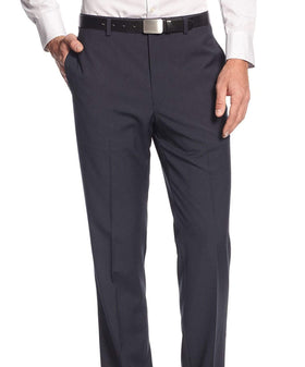 Calvin Klein Slim Fit Navy Blue Check Flat Front Washable Dress Pants