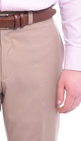 Calvin Klein Regular Fit Solid Taupe Flat Front Dress Pants