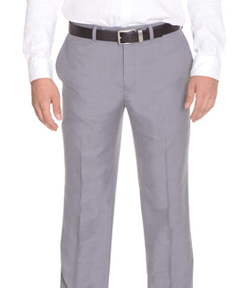 Calvin Klein Body Slim Fit Solid Light Gray Flat Front Washable Dress Pants