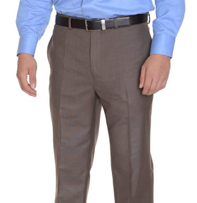 Calvin Klein Regular Fit Light Brown Heather Flat Front Washable Dress Pants