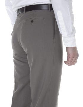 Calvin Klein Mens Slim Fit Taupe Herringbone Flat Front Wool Dress Pants