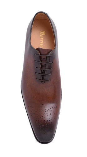 Mens Carrucci Chestnut Brown Oxford Leather Dress Shoe With Brogue Toe