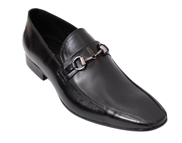 Carrucci Shoes For Amazon 9 D-M Carrucci Black Slip-on Bit Loafer Bicycle Toe Leather Dress Shoes